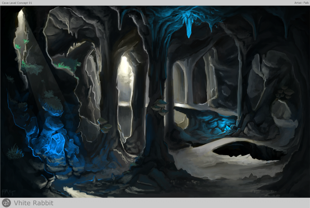 Cave concept by Falk. This huge cave with it's enormeous pillars and dimmly glowing crystals is positioned between night and day level.