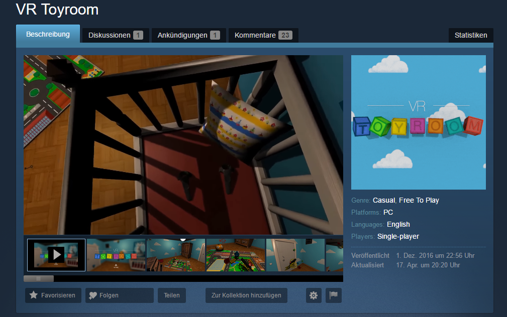 VR Toyroom Greenlight Overview Page Screenshot